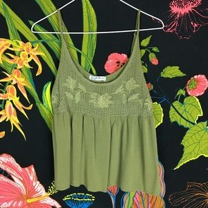 UO / Olive Green Embroidered Tank Blouse